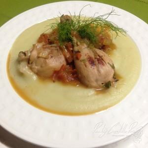 Muslos de pollo sobre puré de hinojo2